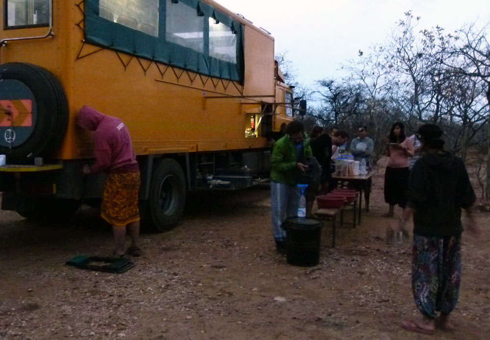 The Oasis crew pack away breakfast on our final monrnig in Tanzania.