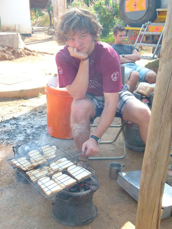 Barny making toast.